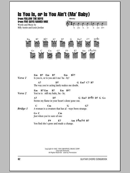 Is You Is, Or Is You Ain't (Ma' Baby) sheet music for guitar solo (chords, lyrics, melody) by Billy Austin