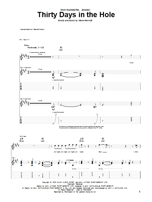 Tablature guitare Thirty Days In The Hole de Humble Pie - Tablature Guitare