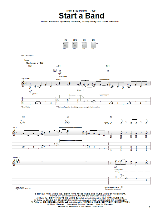 Start A Band sheet music for guitar solo (tablature) by Kelley Lovelace