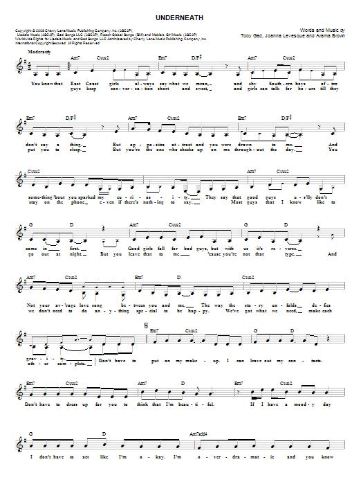 Tablature guitare Underneath de Toby Gad - Tablature guitare facile