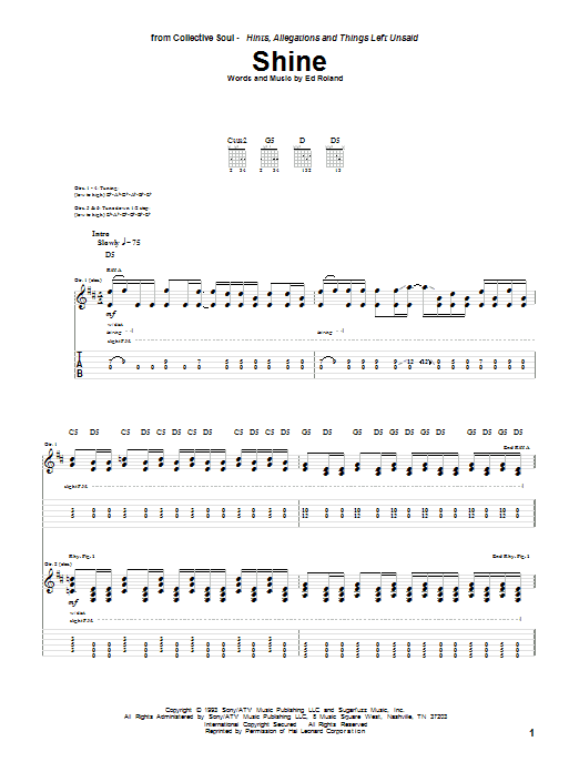 Tablature guitare Shine de Collective Soul - Tablature Guitare
