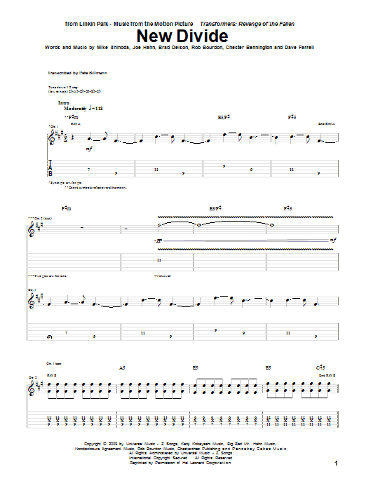 Tablature guitare New Divide de Linkin Park - Tablature Guitare