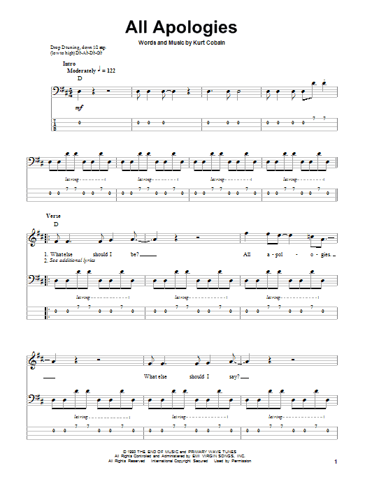 All Apologies sheet music for bass (tablature) (bass guitar) by Kurt Cobain