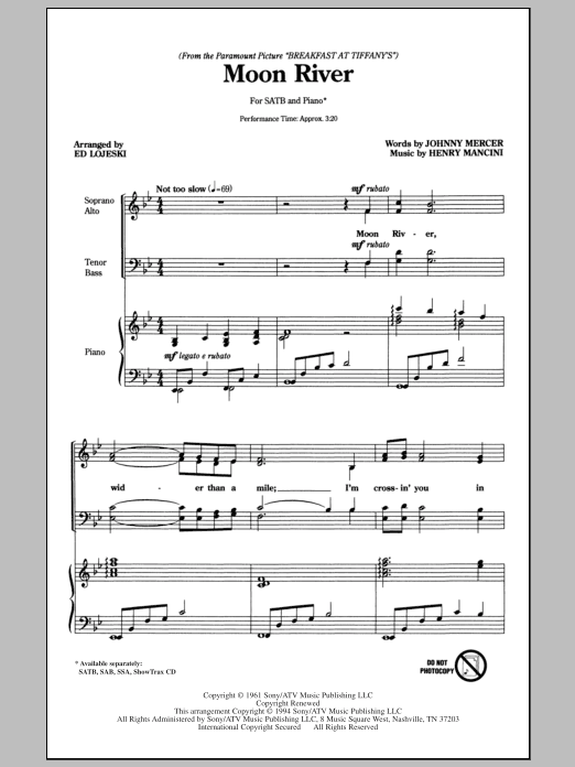 Moon River sheet music for choir and piano (SATB) by Henry Mancini