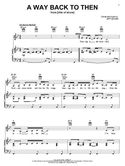 Partition piano A Way Back To Then de Jeff Bowen - Piano Voix Guitare (Mélodie Main Droite)
