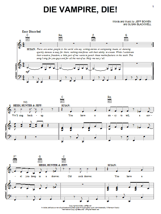 Partition piano Die Vampire, Die! de Jeff Bowen - Piano Voix Guitare (Mélodie Main Droite)