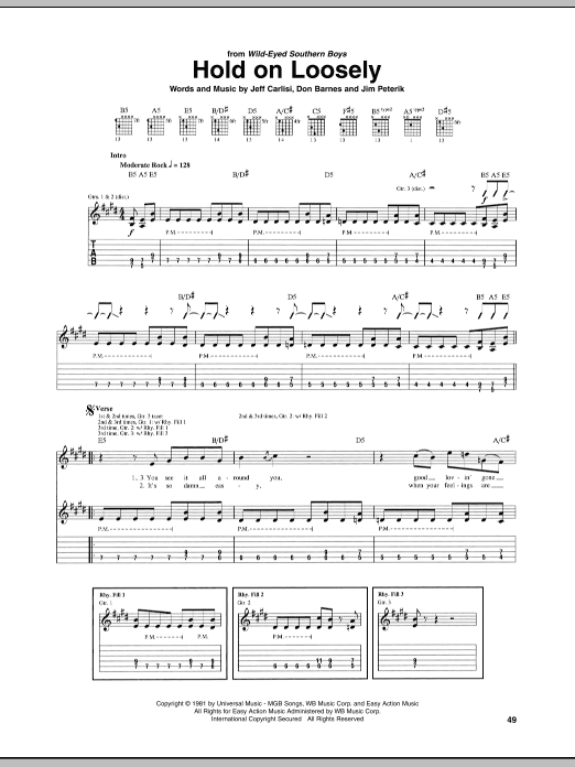 Hold On Loosely sheet music for guitar solo (tablature) by Jim Peterik