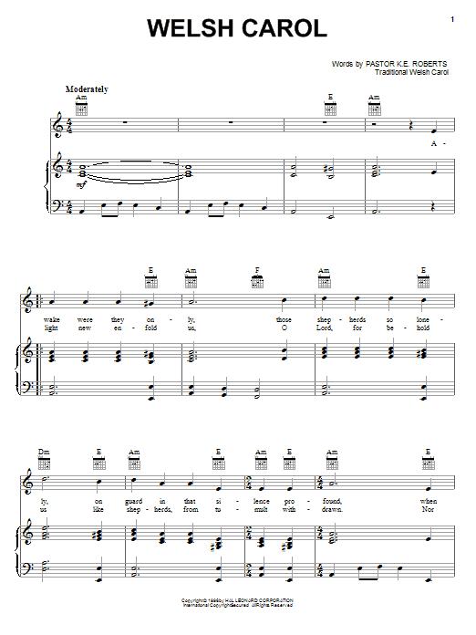 Partition piano Welsh Carol de Pastor K.E. Roberts - Piano Voix Guitare (Mélodie Main Droite)
