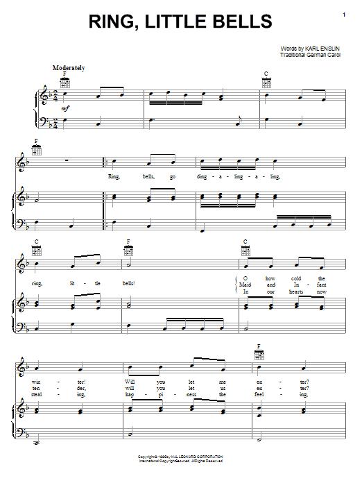 Partition piano Ring, Little Bells de Karl Enslin - Piano Voix Guitare (Mélodie Main Droite)