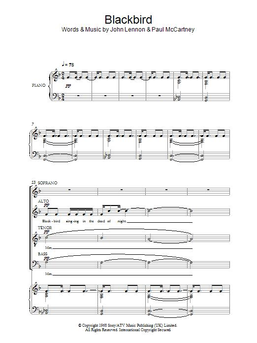 Blackbird sheet music for choir and piano (SATB) by John Lennon