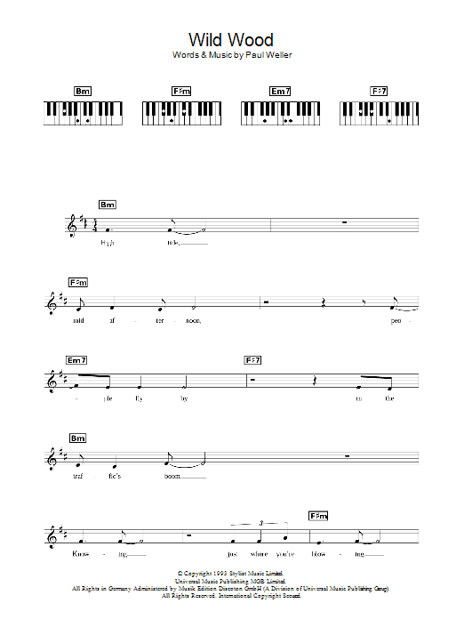 Wild Wood sheet music for piano solo (chords, lyrics, melody) by Paul Weller