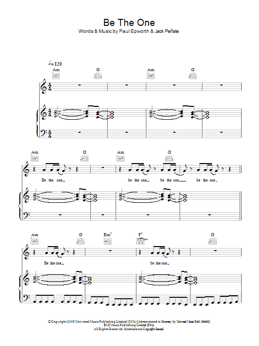 Be The One sheet music for voice, piano or guitar by Paul Epworth
