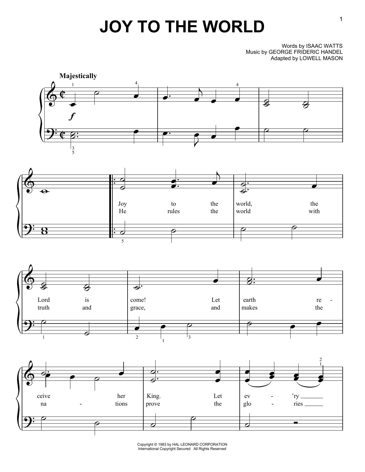 Partition piano Joy To The World de Isaac Watts - Piano Facile