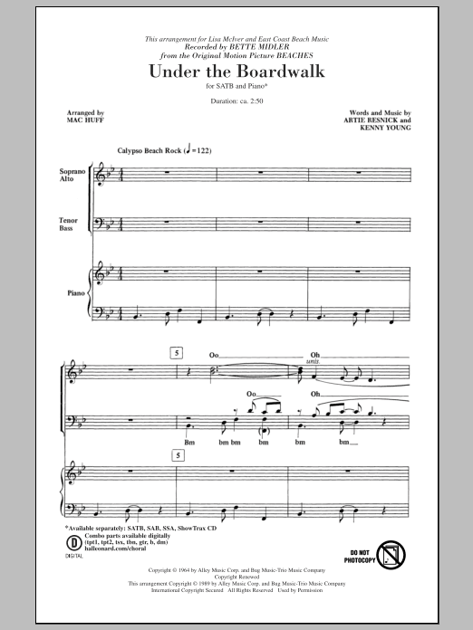 Partition chorale Under The Boardwalk de Bette Midler - SATB