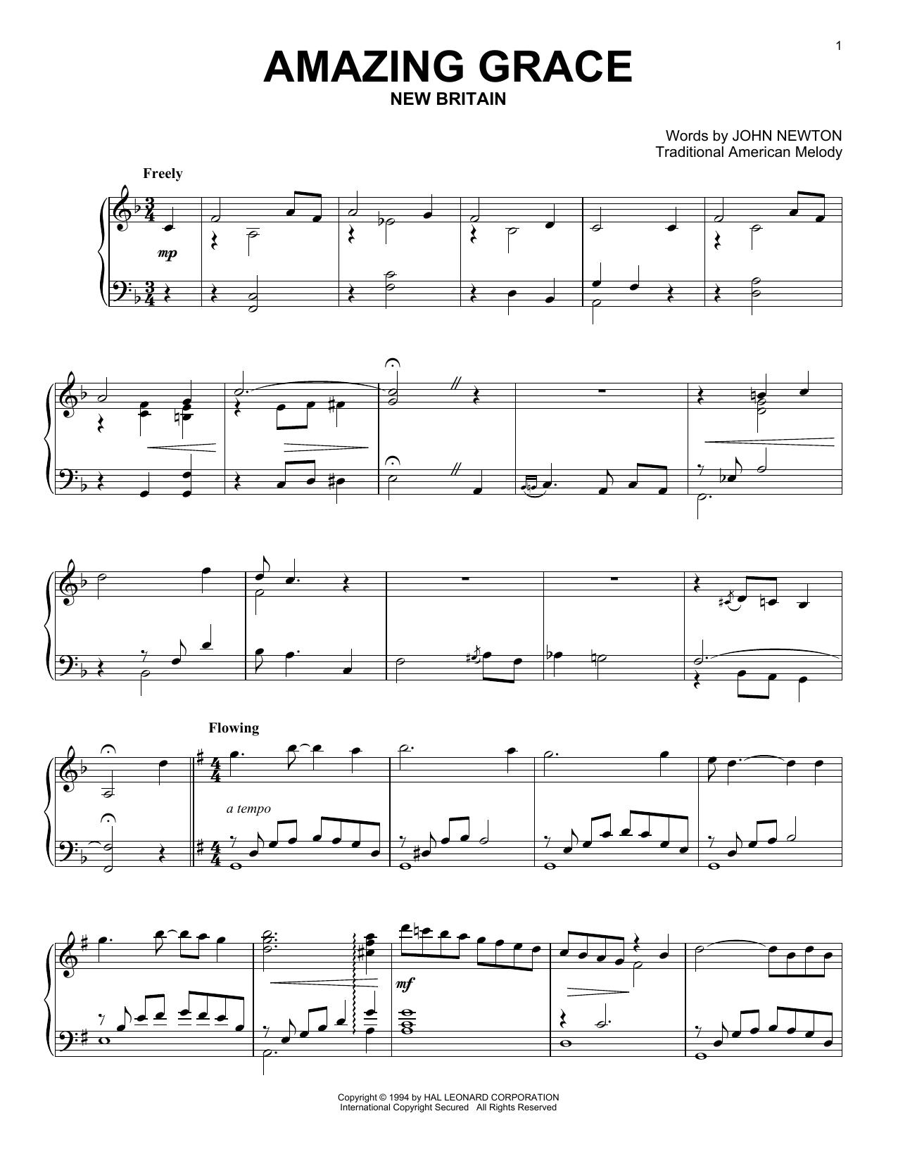 Partition piano Amazing Grace de John Newton - Piano Solo