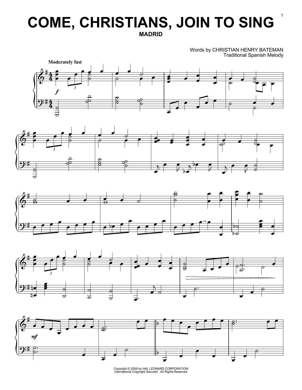 Partition piano Come, Christians, Join To Sing de Christian Henry Bateman - Piano Solo