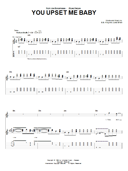 Tablature guitare You Upset Me Baby de Joe Bonamassa - Tablature Guitare