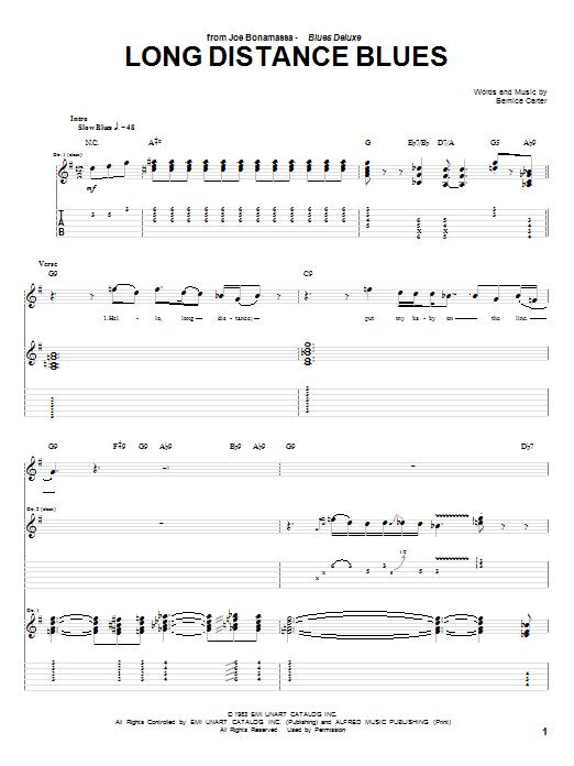 Tablature guitare Long Distance Blues de Joe Bonamassa - Tablature Guitare