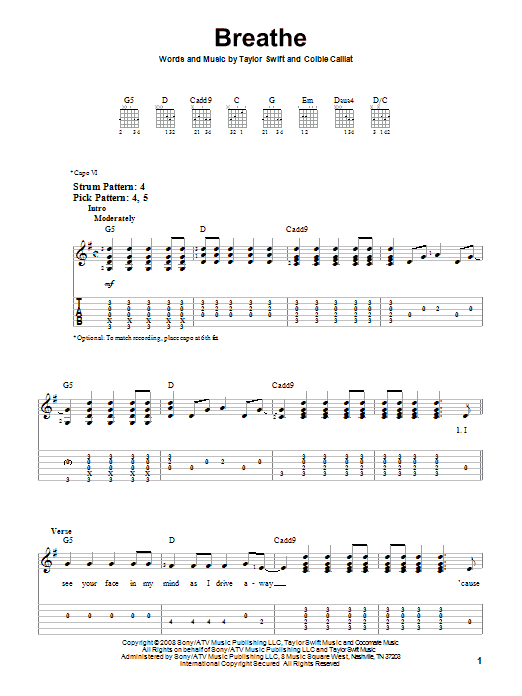 Breathe sheet music for guitar solo (easy tablature) by Taylor Swift