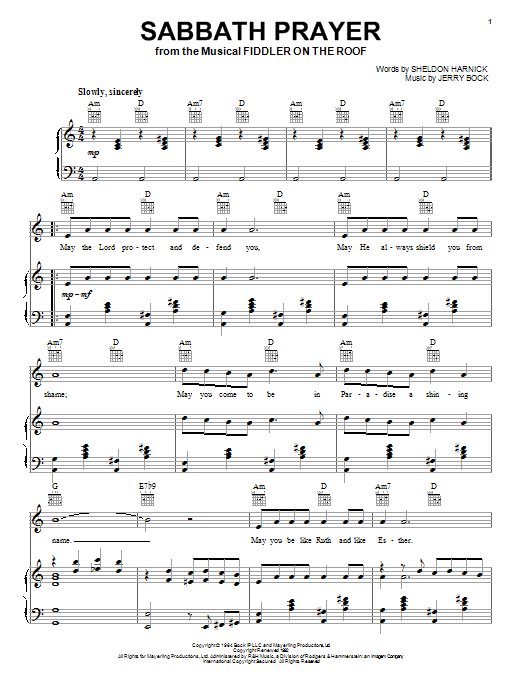 Sabbath Prayer Sheet Music Direct