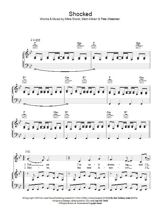 Shocked sheet music for voice, piano or guitar by Matt Aitken