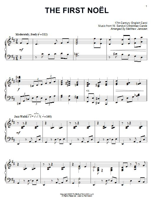 Partition piano The First Noel de 17th Century English Carol - Piano Solo