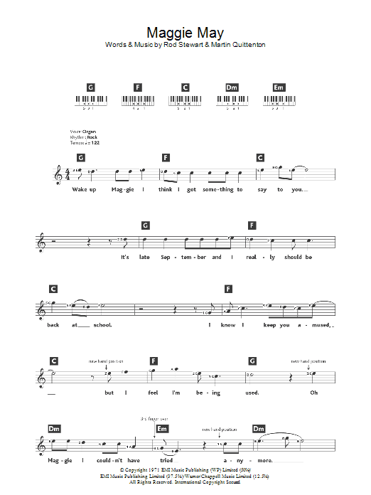 Maggie May sheet music for piano solo (chords, lyrics, melody) by Martin Quittenton