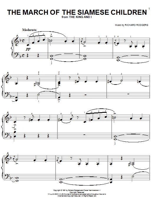 Partition piano The March Of The Siamese Children de Rodgers & Hammerstein - Piano Facile