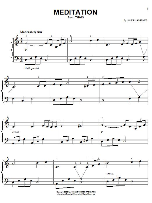 Partition piano Meditation de Jules Massenet - Piano Facile