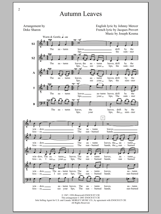 Partition chorale Autumn Leaves de Deke Sharon - SATB