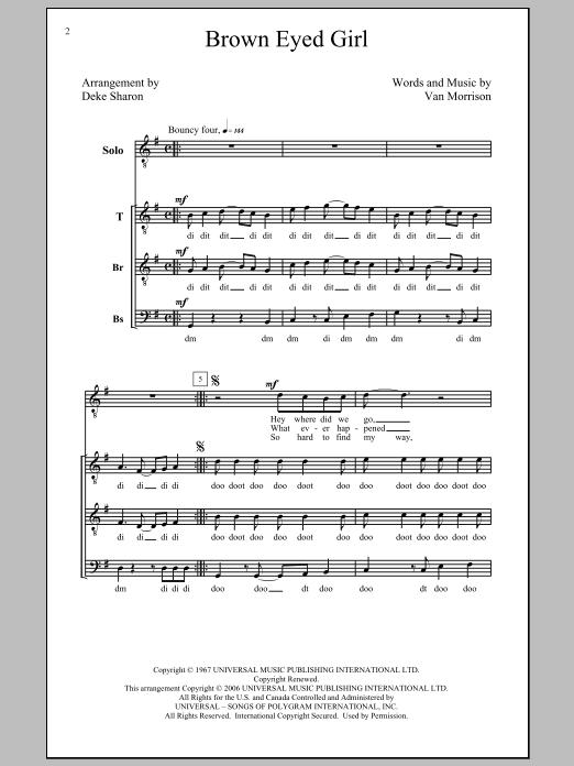 Partition chorale Brown Eyed Girl de Van Morrison - TTBB