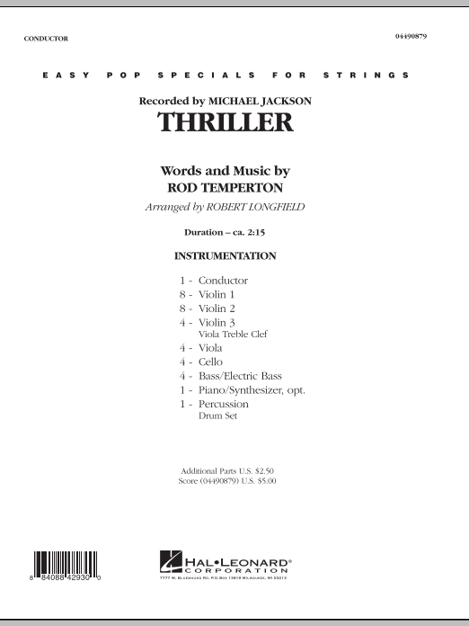 Thriller (COMPLETE) sheet music for orchestra by Robert Longfield