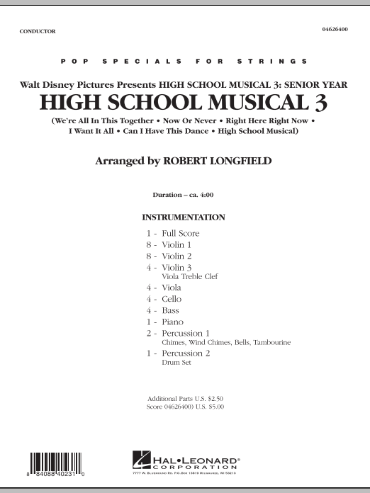 High School Musical 3 sheet music for orchestra (full score) by Robert Longfield