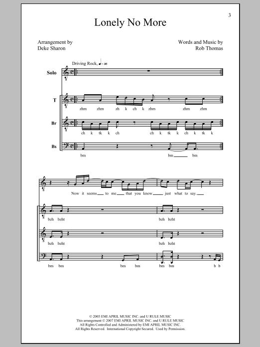 Partition chorale Lonely No More de Rob Thomas - TTBB