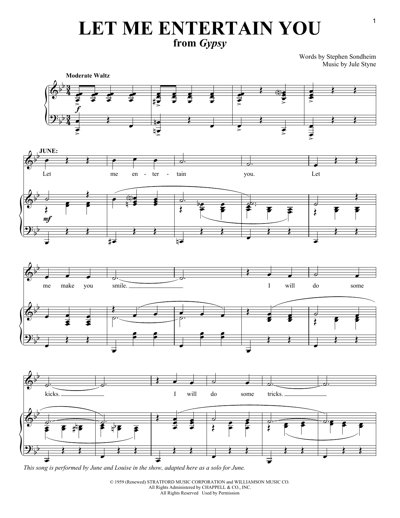 Let Me Entertain You sheet music for voice and piano by Jule Styne