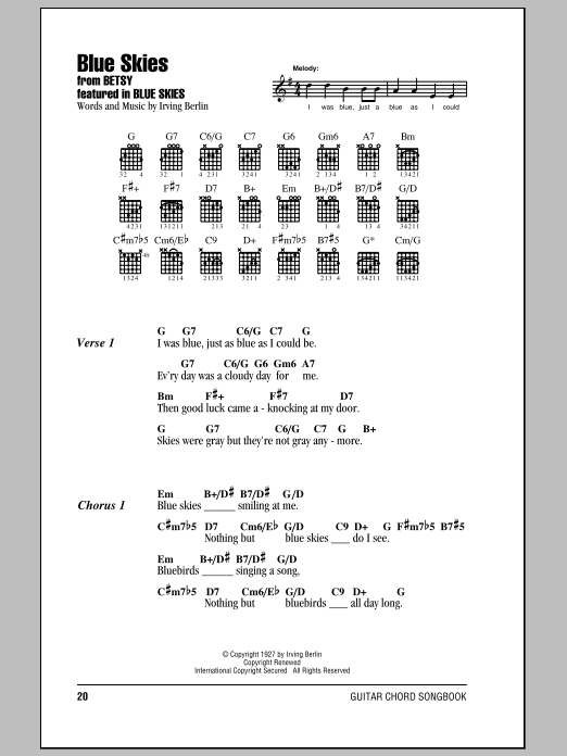 Blue Skies By Irving Berlin Guitar Chords Lyrics