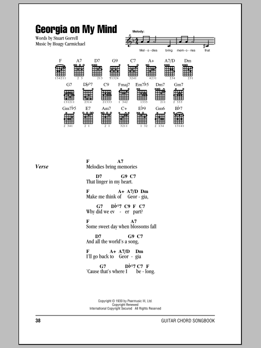 Georgia On My Mind sheet music for guitar solo (chords, lyrics, melody) by Stuart Gorrell