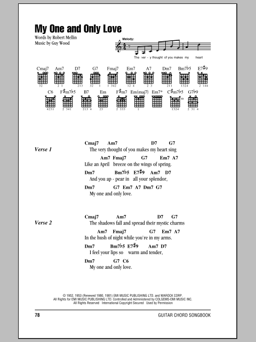 My One And Only Love sheet music for guitar solo (chords, lyrics, melody) by Guy Wood