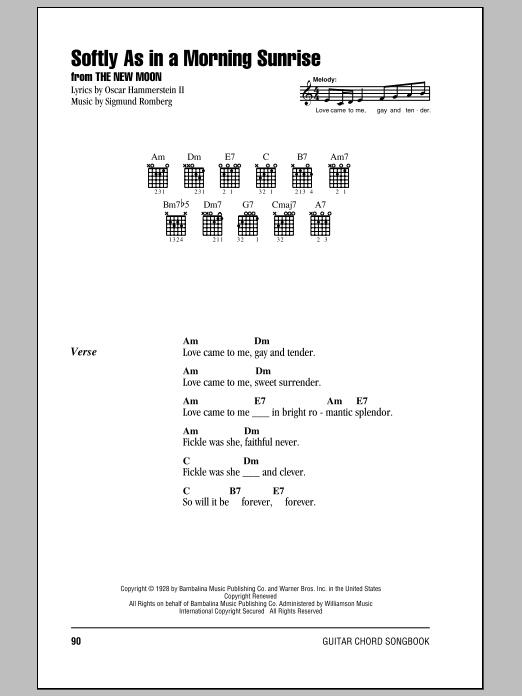 Softly As In A Morning Sunrise sheet music for guitar solo (chords, lyrics, melody) by Oscar II Hammerstein