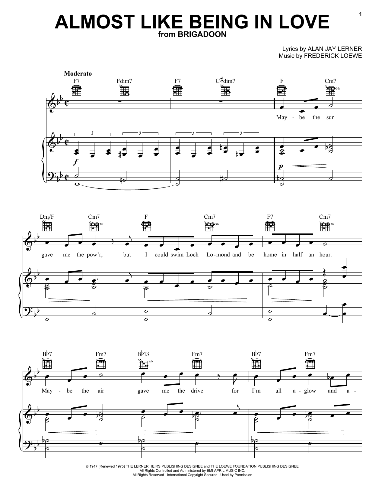 Almost Like Being In Love sheet music for voice, piano or guitar by Frederick Loewe