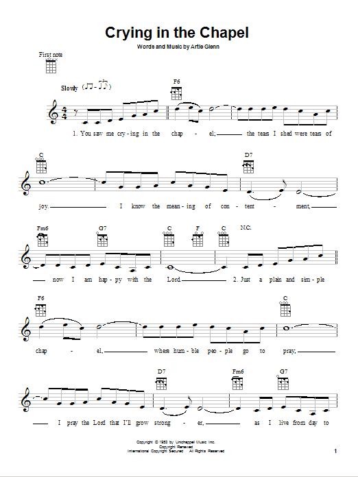 Tablature guitare Crying In The Chapel de Elvis Presley - Ukulele