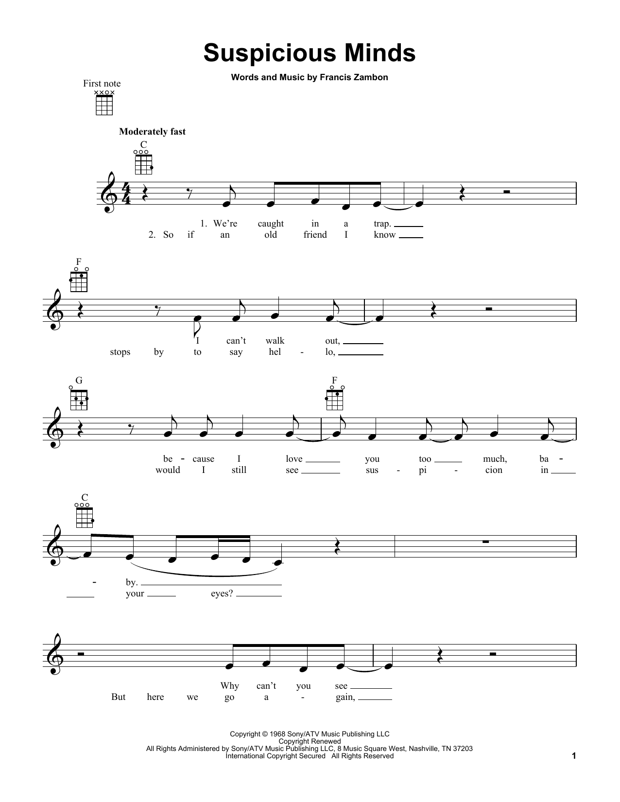 Tablature guitare Suspicious Minds de Elvis Presley - Ukulele