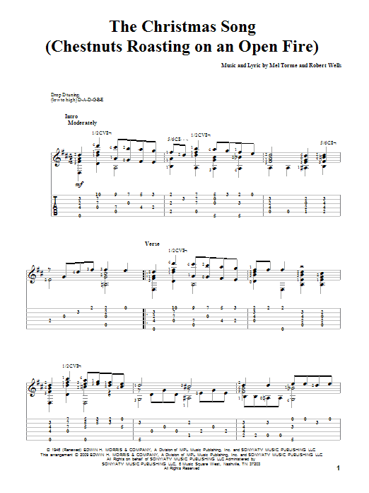 Tablature guitare The Christmas Song (Chestnuts Roasting On An Open Fire) de Mel Torme - Tablature Guitare