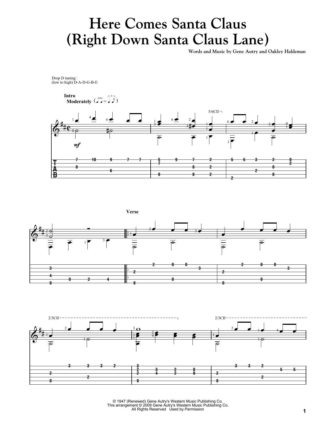 Tablature guitare Here Comes Santa Claus (Right Down Santa Claus Lane) de Gene Autry - Tablature Guitare