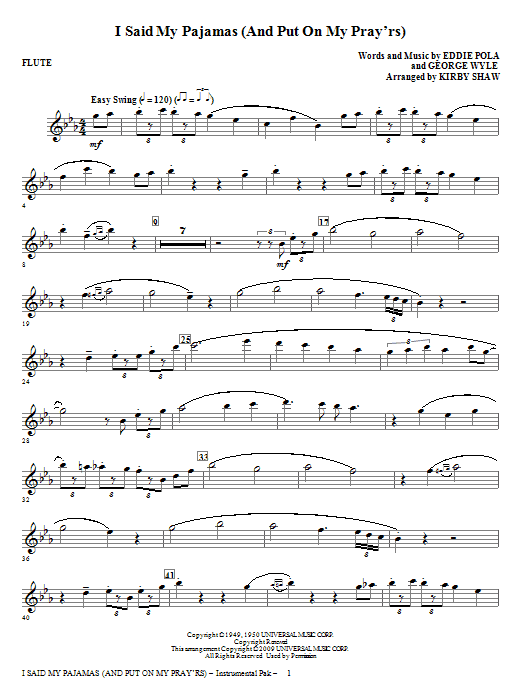 I Said My Pajamas (And Put On My Pray'rs) (COMPLETE) sheet music for orchestra by Eddie Pola