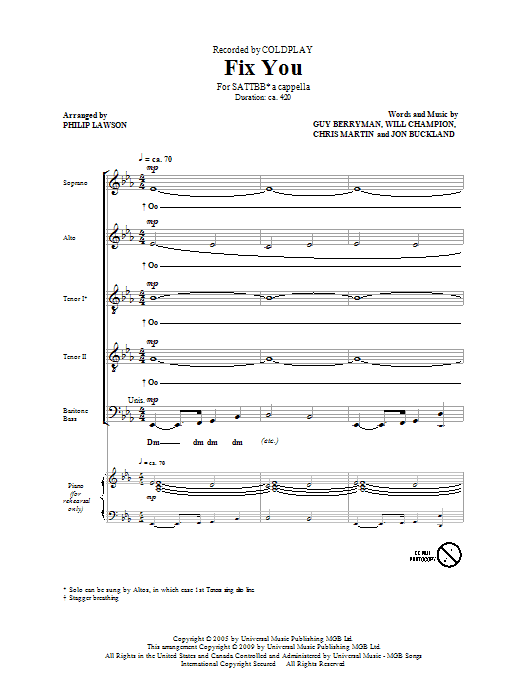 Partition chorale Fix You de Coldplay - SATB