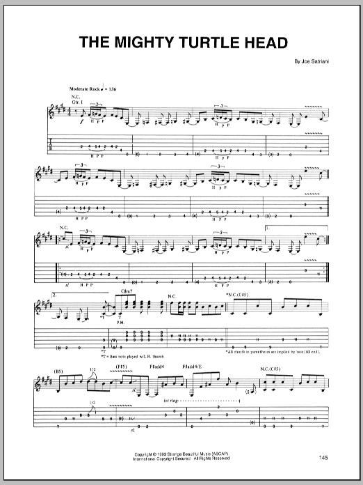 Tablature guitare The Mighty Turtle Head de Joe Satriani - Tablature Guitare