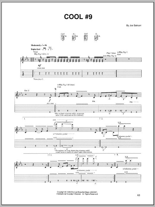 Tablature guitare Cool #9 de Joe Satriani - Tablature Guitare