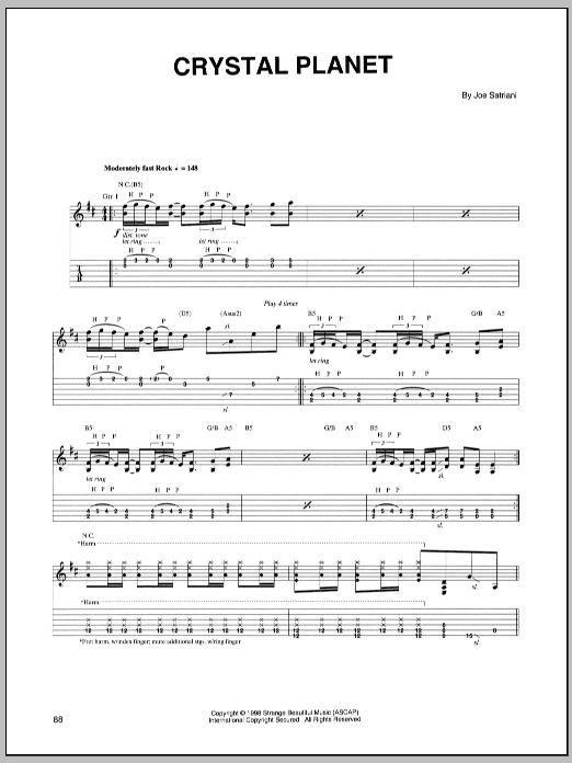 Tablature guitare Crystal Planet de Joe Satriani - Tablature Guitare