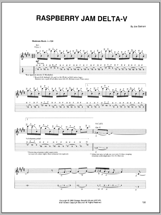 Tablature guitare Raspberry Jam Delta-V de Joe Satriani - Tablature Guitare